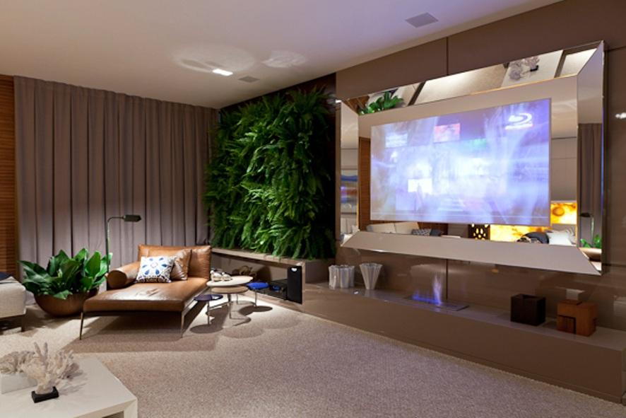 """Sala De Tv Com Revestimento ~ Casa Cor 2011 – """"Estar"""" por Estella Netto"""